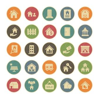 Conjunto de 25 iconos de bienes raíces