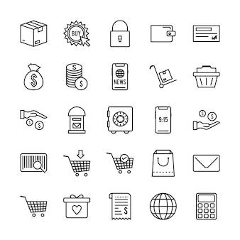 Conjunto de 25 iconos de comercio electrónico