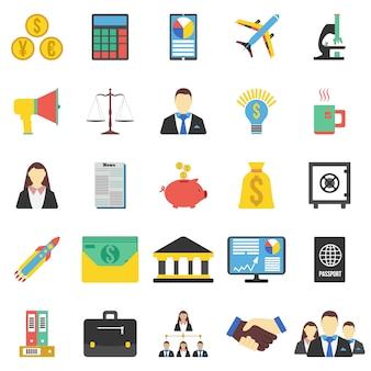 Conjunto de 25 iconos de negocios. ilustración vectorial plana