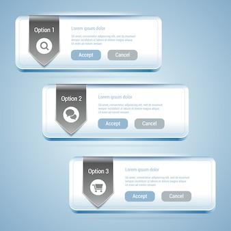 Conjunto de 3 banners de opción con cinta.