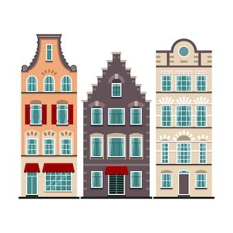 Conjunto de 3 fachadas de dibujos animados de casas antiguas de amsterdam