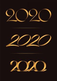 Conjunto de 3, feliz año nuevo, celebración de escritura a mano de navidad 2020, dúo de lujo en tono dorado marrón para tarjeta de invitación, fondo, etiqueta o estacionario