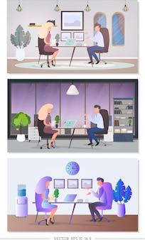 Conjunto de 3 ilustraciones sobre el tema de la entrevista. yo