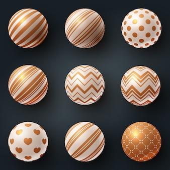 Conjunto 3d bola de textura - realista
