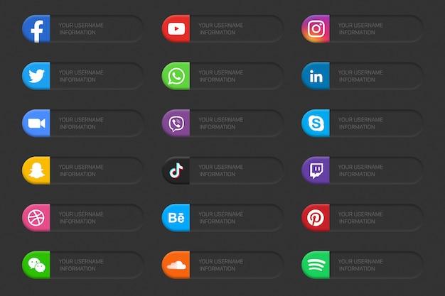 Conjunto 3d de iconos de tercio inferior de red de redes sociales populares, diseño de modo oscuro.