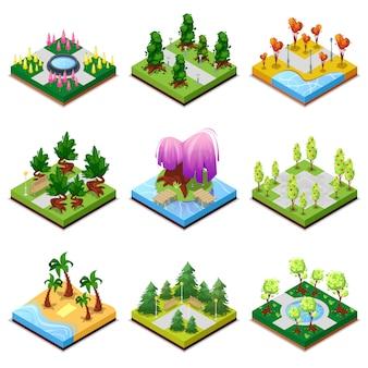 Conjunto 3d isométrico de paisajes de parques públicos