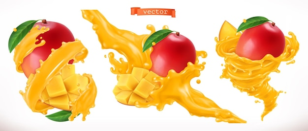 Conjunto 3d de jugo de mango