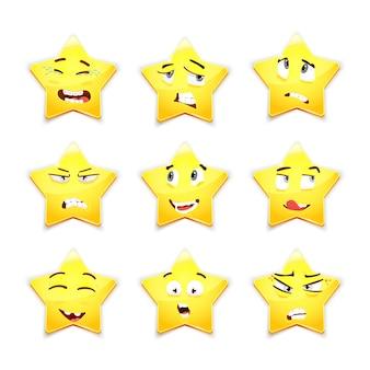 Conjunto 3d de nueve estrellas sonrientes lindas con diferentes expresiones faciales
