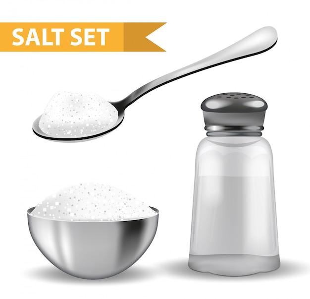 Conjunto 3d realista con salero, cuchara de sal, cuenco de acero. aislado sobre fondo blanco tarro de cristal para especias. ingredientes para cocinar el concepto.