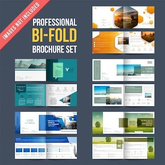 Conjunto de 4 diseños de folletos con cuatro plantillas de diseños de páginas.