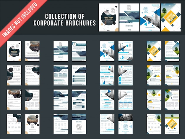 Conjunto de 4 folletos de varias páginas con diseño de portada.