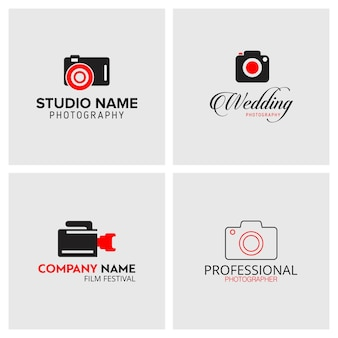 Conjunto de 4 iconos negros y rojos para fotógrafos sobre fondo gris claro