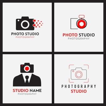 Conjunto de 4 iconos negros y rojos para fotógrafos