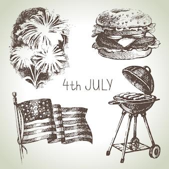 Conjunto del 4 de julio. ilustraciones dibujadas a mano del día de la independencia de américa