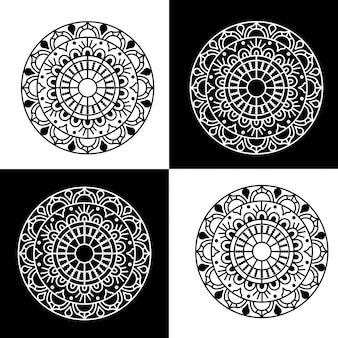 Conjunto de 4 mandala vector