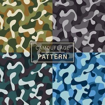 Conjunto de 4 patrones de camuflaje de moda.