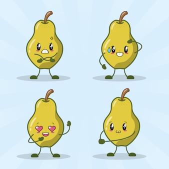 Conjunto de 4 peras kawaii con diferentes expresiones felices