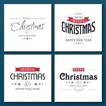 Conjunto de 4 tipografías creativas de navidad en cajas blancas sobre fondo azul