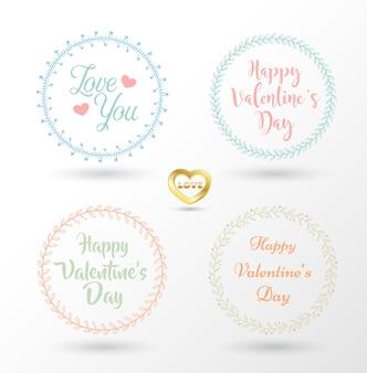 Conjunto de 4 vectores de diseño guirnaldas florales y tipografía