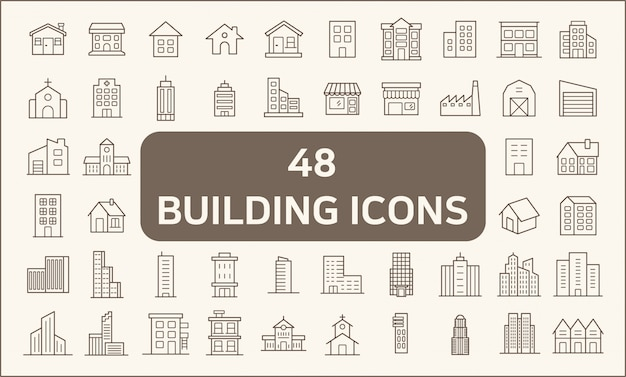 Conjunto de 48 edificios y bienes raíces estilo de línea de iconos. contiene iconos como casa, constructor, ciudad, pueblo, apartamento, oficina, iglesia, estructura y más.