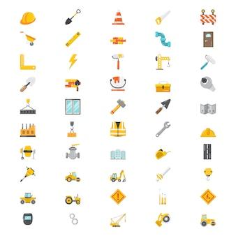 Conjunto de 50 iconos de construcción plana