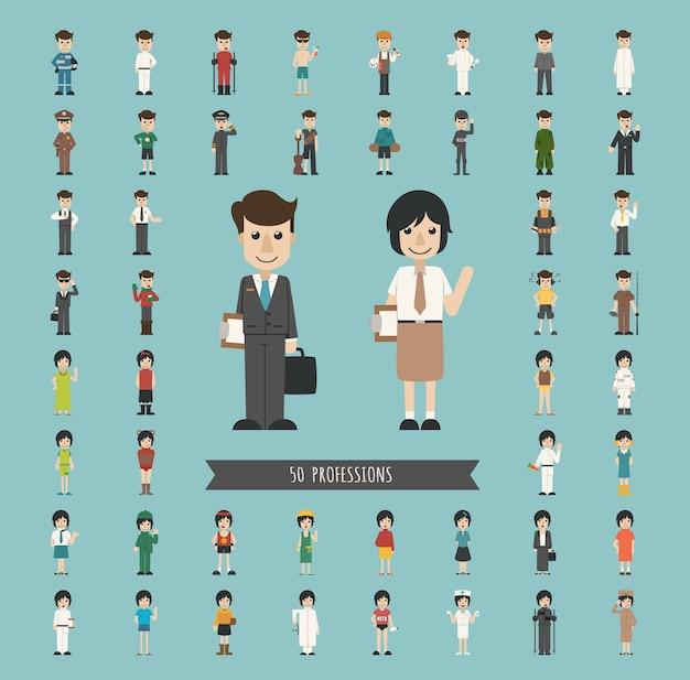 Conjunto de 50 profesiones