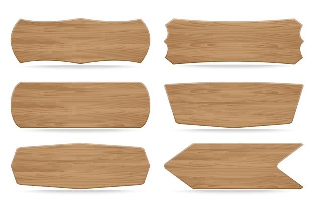 Conjunto de 6 carteles de madera de formas