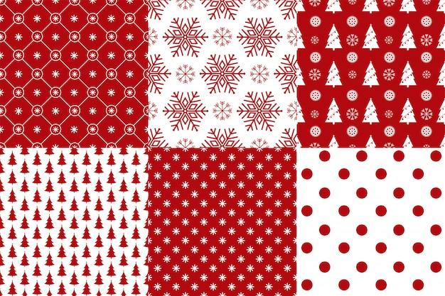 Conjunto de 6 colores rojo y blanco de patrones sin fisuras de navidad.