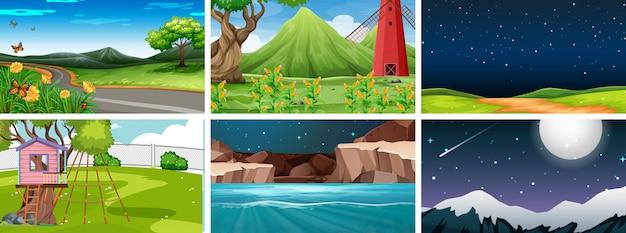 Conjunto de 6 escenas de naturaleza en parques de día y de noche.