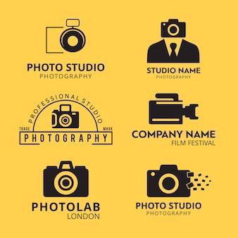 Conjunto de 6 iconos negros para fotógrafos sobre fondo amarillo