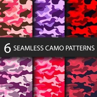 Conjunto de 6 paquetes de camuflaje de patrones sin fisuras de fondo con sombra negra