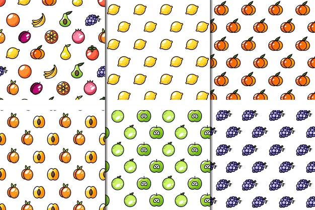 Conjunto de 6 patrones de frutas jugosas sin costura.
