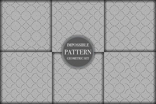 Conjunto de 6 patrones geométricos de elementos abstractos en blanco y negro