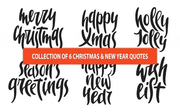 Conjunto de 6 tipografía de vectores de navidad y año nuevo.