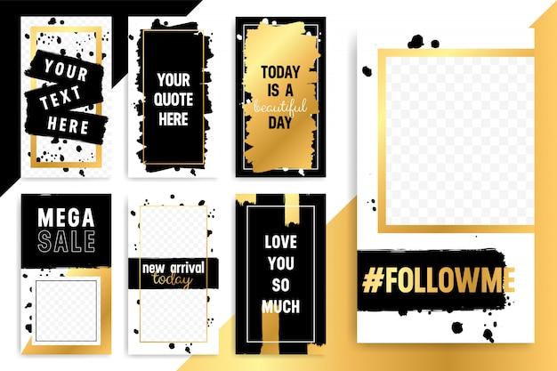 Conjunto de 7 plantillas de moda dorada de moda para historias y corrientes