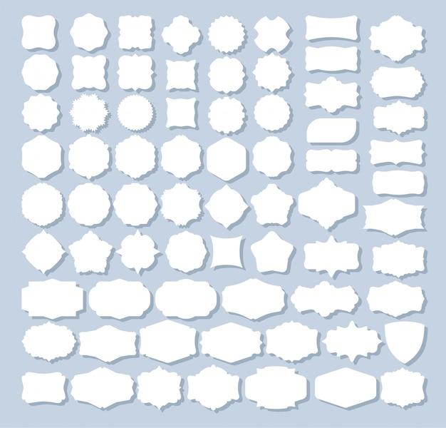 Conjunto de 70 formas de etiquetas retro para diseño