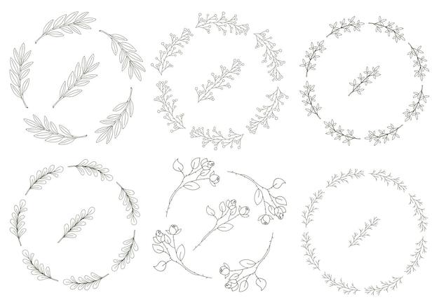 Conjunto de 8 coronas redondas de ramitas dibujadas a mano con hojas en estilo doodle.