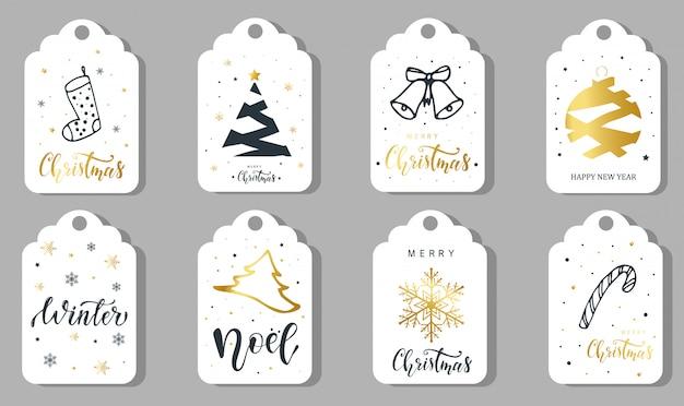 Conjunto de 8 etiquetas navideñas, pegatinas, etiquetas.