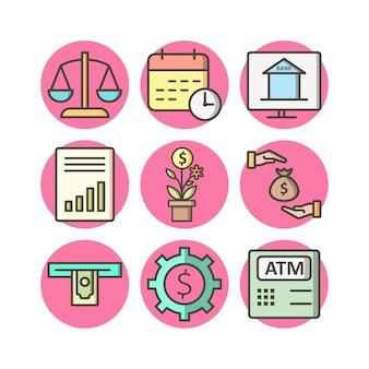 Conjunto de 9 iconos bancarios en elementos aislados de vector blanco