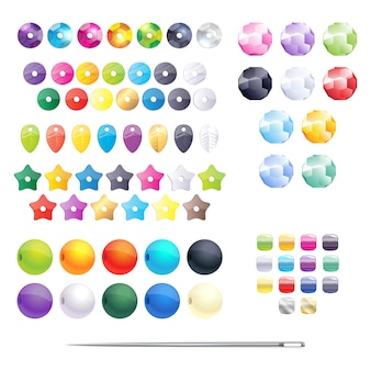 Conjunto de abalorios de diferentes colores, lentejuelas y abalorios. accesorios de joyería.
