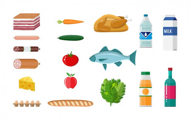 Conjunto de abarrotes. carne, pescado, ensalada, pan, leche