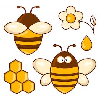 Conjunto de abejas de colores. ilustración