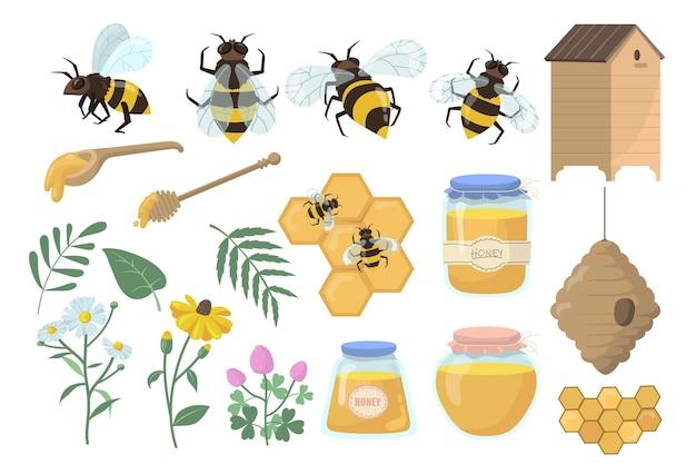 Conjunto de abejas y miel. flores, colmena y panales, tarro, olla y cucharón aislado sobre fondo blanco.