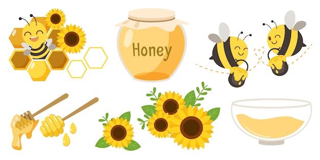 Conjunto de abejas, tarros de miel y flores