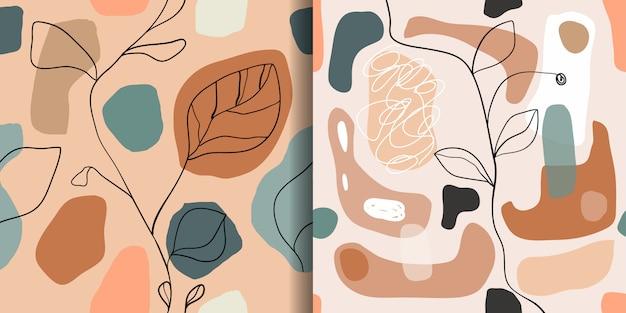 Conjunto abstracto con patrones sin fisuras, fondos de pantalla de diseño de moda