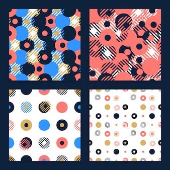Conjunto abstracto de patrones sin fisuras con formas geométricas circulares o puntos con línea.