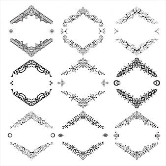 Conjunto de abstractos ornamentos decorativos