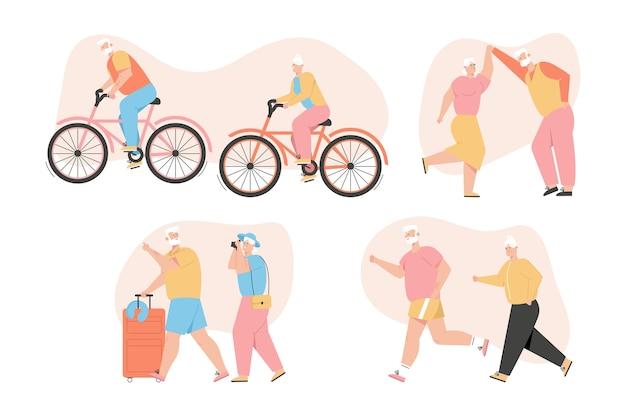 Conjunto de abuelos activo estilo de vida saludable.