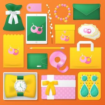 Conjunto de accesorios aislado en naranja