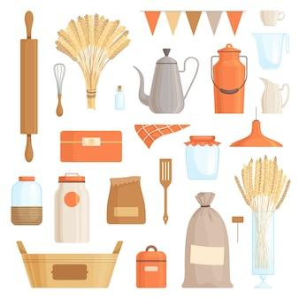 Un conjunto de accesorios de cocina para decorar una cocina.